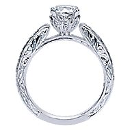 Agnes 14k White Gold Round Straight Engagement Ring angle 2