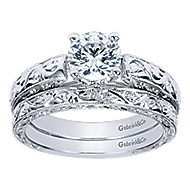 Agnes 14k White Gold Round Straight Engagement Ring angle 4