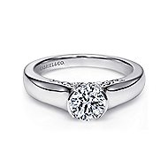 Akira 14k White Gold Round Solitaire Engagement Ring angle 1
