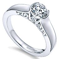 Akira 14k White Gold Round Solitaire Engagement Ring angle 3