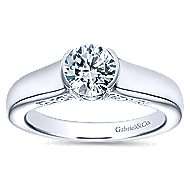 Akira 14k White Gold Round Solitaire Engagement Ring angle 5