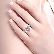 Alba 14k White And Rose Gold Oval Double Halo Engagement Ring