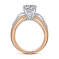 Albany 14k White And Rose Gold Round Twisted Engagement Ring