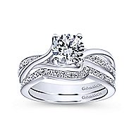 Aleesa 14k White Gold Round Bypass Engagement Ring angle 4