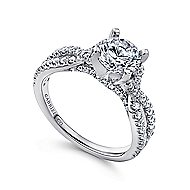 Alicia 14k White Gold Round Twisted Engagement Ring angle 3