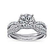 Alicia 14k White Gold Round Twisted Engagement Ring angle 4