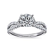 Alicia 14k White Gold Round Twisted Engagement Ring angle 5