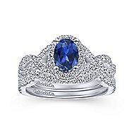 Almeida 14k White Gold Oval Halo Engagement Ring