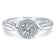Aloha 14k White And Rose Gold Round Halo Engagement Ring angle 1