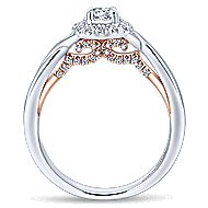 Aloha 14k White And Rose Gold Round Halo Engagement Ring angle 2