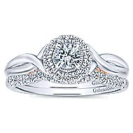 Aloha 14k White And Rose Gold Round Halo Engagement Ring angle 4