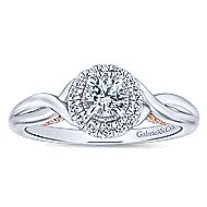 Aloha 14k White And Rose Gold Round Halo Engagement Ring