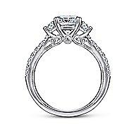 Aloise 14k White Gold Cushion Cut 3 Stones Engagement Ring
