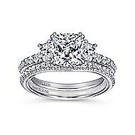 Aloise 14k White Gold Cushion Cut 3 Stones Engagement Ring angle 4