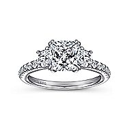 Aloise 14k White Gold Cushion Cut 3 Stones Engagement Ring angle 5