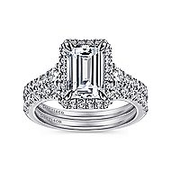 Ambition 18k White Gold Emerald Cut Halo Engagement Ring angle 4