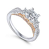 Ambrosia 14k White And Rose Gold Princess Cut 3 Stones Engagement Ring angle 3