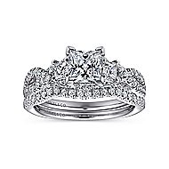 Ambrosia 14k White Gold Princess Cut 3 Stones Engagement Ring angle 4