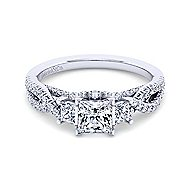 Ambrosia 18k White Gold Princess Cut 3 Stones Engagement Ring angle 1