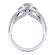 Ambrosia 18k White Gold Princess Cut 3 Stones Engagement Ring angle 2