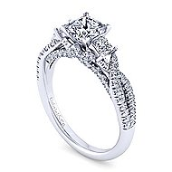 Ambrosia 18k White Gold Princess Cut 3 Stones Engagement Ring angle 3
