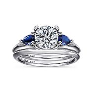 Amerie 14k White Gold Round 3 Stones Engagement Ring angle 4