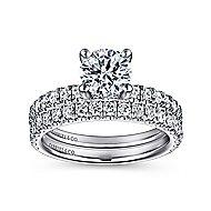 Amira 14k White Gold Round Straight Engagement Ring angle 4