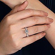 Amira 14k White Gold Round Straight Engagement Ring angle 6