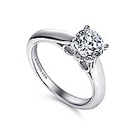 Amy 18k White Gold Round Solitaire Engagement Ring angle 3