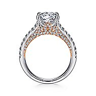 Anais 18k White And Rose Gold Round Straight Engagement Ring