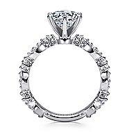 Ancora 18k White Gold Round Straight Engagement Ring angle 2