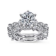 Ancora 18k White Gold Round Straight Engagement Ring angle 4