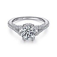 Andre 18k White Gold Round Split Shank Engagement Ring angle 1