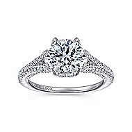 Andre 18k White Gold Round Split Shank Engagement Ring angle 5