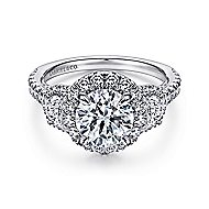 Andrea 18k White Gold Round 3 Stones Halo Engagement Ring angle 1