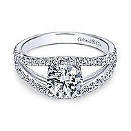 Andrina 14k White Gold Round Split Shank Engagement Ring angle 1
