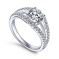 Andrina 14k White Gold Round Split Shank Engagement Ring angle 3