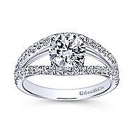 Andrina 14k White Gold Round Split Shank Engagement Ring angle 5