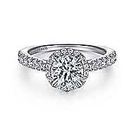 Anise 14k White Gold Round Halo Engagement Ring angle 1