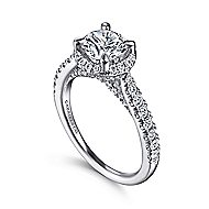 Anise 14k White Gold Round Halo Engagement Ring