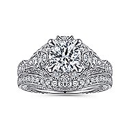 Annadale 14k White Gold Round Halo Engagement Ring angle 4