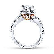 Annalise 14k White And Rose Gold Round Halo Engagement Ring angle 2