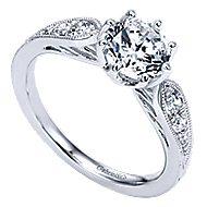 Annette 14k White Gold Round Straight Engagement Ring