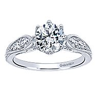 Annette 14k White Gold Round Straight Engagement Ring angle 5