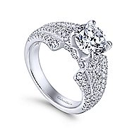 Annie 18k White Gold Round Straight Engagement Ring angle 3