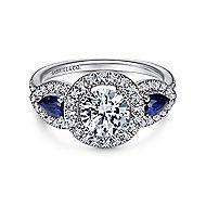 Anselma 14k White Gold Round 3 Stones Halo Engagement Ring angle 1