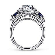 Anselma 14k White Gold Round 3 Stones Halo Engagement Ring angle 2