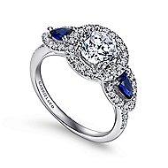 Anselma 14k White Gold Round 3 Stones Halo Engagement Ring angle 3