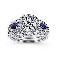 Anselma 14k White Gold Round 3 Stones Halo Engagement Ring angle 4