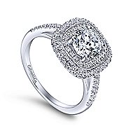 Antoinette 14k White Gold Round Double Halo Engagement Ring angle 3